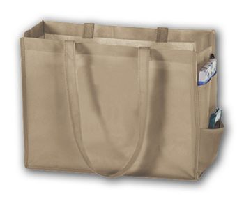 Tan Unprinted Non-Woven Tote Bags, 16 x 6 x 12