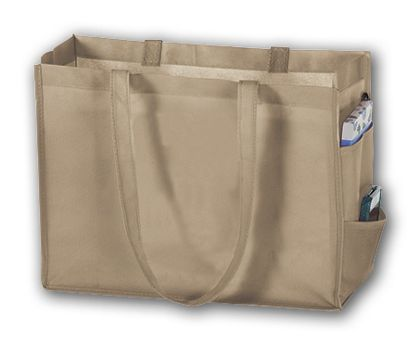 "Tan Unprinted Non-Woven Tote Bags, 16 x 6 x 12"""