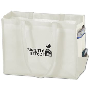 White Non-Woven Tote Bags, 16 x 6 x 12