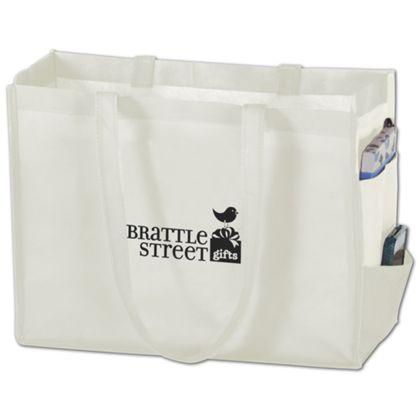 "White Non-Woven Tote Bags, 16 x 6 x 12"""