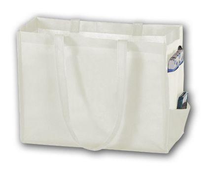 """White Unprinted Non-Woven Tote Bags, 16 x 6 x 12"""""""