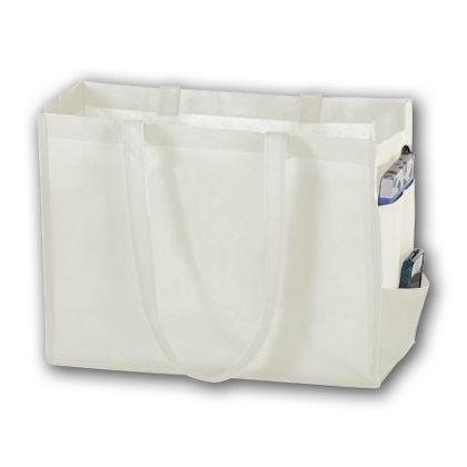 White Unprinted Non-Woven Tote Bags, 16 x 6 x 12