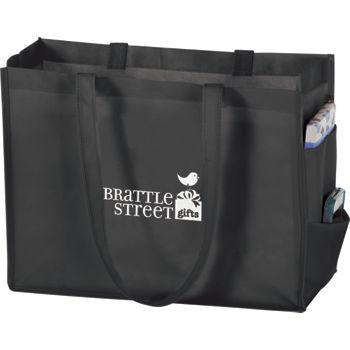 """Black Non-Woven Tote Bags, 16 x 6 x 12"""""""