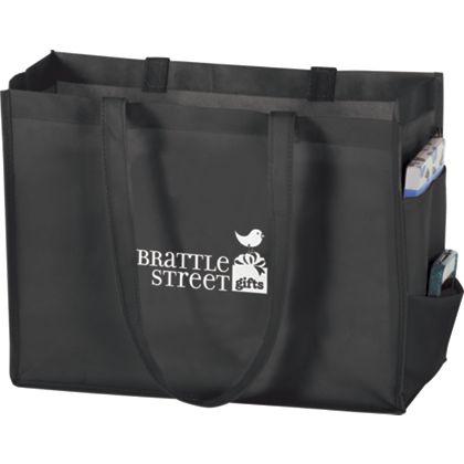 Black Non-Woven Tote Bags, 16 x 6 x 12