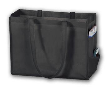 Black Unprinted Non-Woven Tote Bags, 16 x 6 x 12