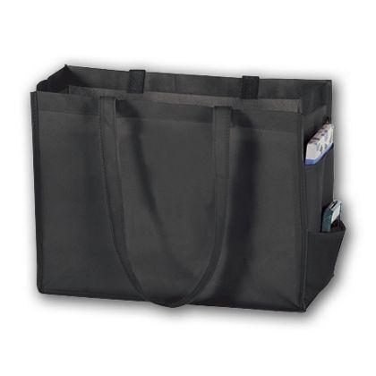 """Black Unprinted Non-Woven Tote Bags, 16 x 6 x 12"""""""