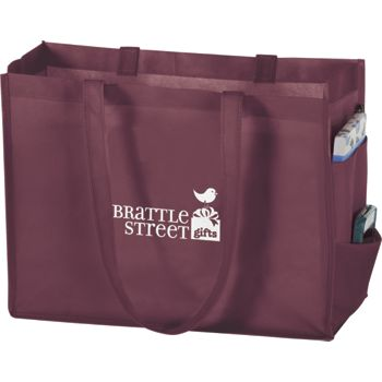 Burgundy Non-Woven Tote Bags, 16 x 6 x 12