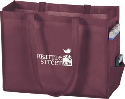 "Burgundy Non-Woven Tote Bags, 16 x 6 x 12"""