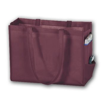 Burgundy Unprinted Non-Woven Tote Bags, 16 x 6 x 12