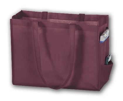 Burgundy Unprinted Non-Woven Tote Bags, 16 x 6 x 12""