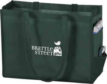 Hunter Green Non-Woven Tote Bags, 16 x 6 x 12