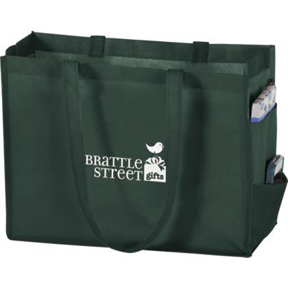 Hunter Green Non-Woven Tote Bags, 16 x 6 x 12