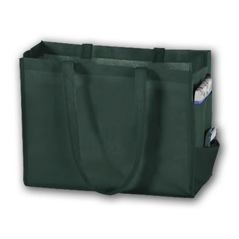 Hunter Green Unprinted Non-Woven Tote Bags, 16 x 6 x 12