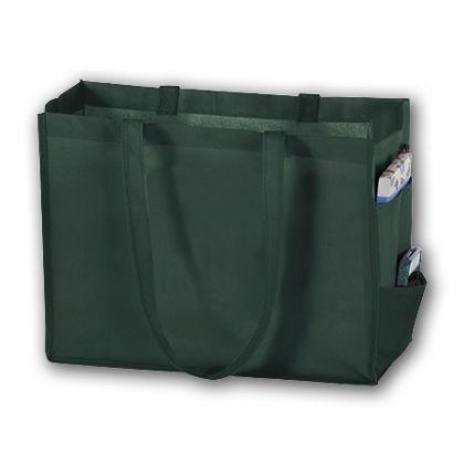 Hunter Green Unprinted Non-Woven Tote Bags, 16 x 6 x 12