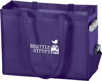 Purple Non-Woven Tote Bags, 16 x 6 x 12