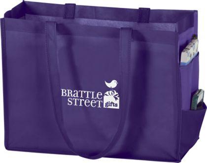 """Purple Non-Woven Tote Bags, 16 x 6 x 12"""""""
