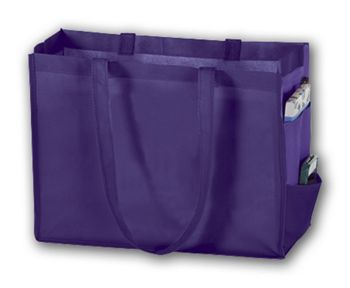 Purple Unprinted Non-Woven Tote Bags, 16 x 6 x 12