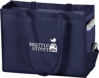 Navy Non-Woven Tote Bags, 16 x 6 x 12