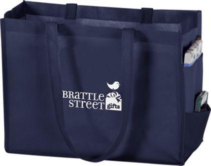 """Navy Non-Woven Tote Bags, 16 x 6 x 12"""""""