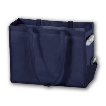 Navy Unprinted Non-Woven Tote Bags, 16 x 6 x 12
