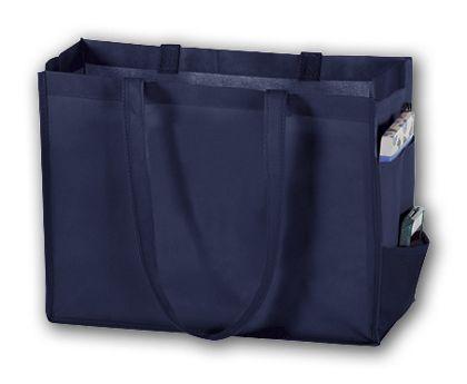 """Navy Unprinted Non-Woven Tote Bags, 16 x 6 x 12"""""""