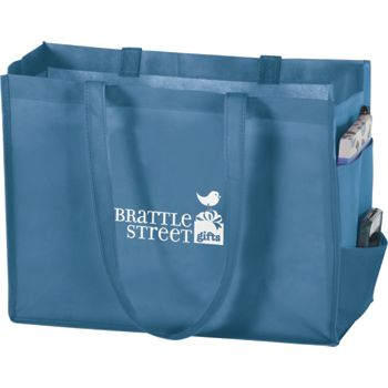 Cool Blue Non-Woven Tote Bags, 16 x 6 x 12