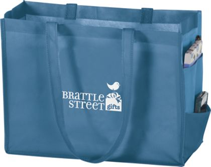 Cool Blue Non-Woven Tote Bags, 16 x 6 x 12""