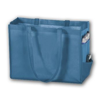 Cool Blue Unprinted Non-Woven Tote Bags, 16 x 6 x 12