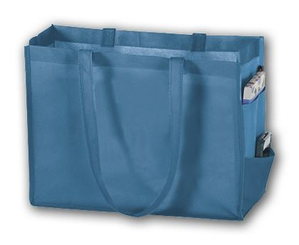 Cool Blue Unprinted Non-Woven Tote Bags, 16 x 6 x 12""