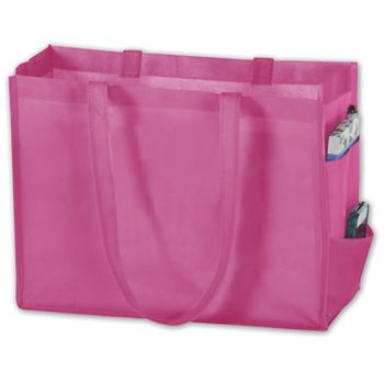 Pink Unprinted Non-Woven Tote Bags, 16 x 6 x 12