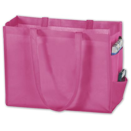 Pink Unprinted Non-Woven Tote Bags, 16 x 6 x 12""