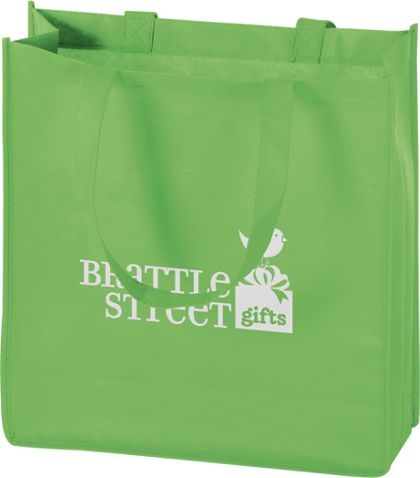 """Lime Non-Woven Tote Bags, 13 x 5 x 13"""""""
