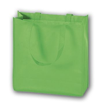 Lime Unprinted Non-Woven Tote Bags, 13 x 5 x 13