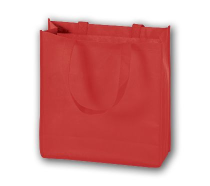 Red Unprinted Non-Woven Tote Bags, 13 x 5 x 13""