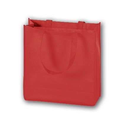 Red Unprinted Non-Woven Tote Bags, 13 x 5 x 13