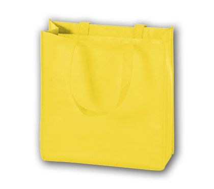 Yellow Unprinted Non-Woven Tote Bags, 13 x 5 x 13""