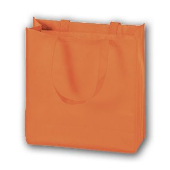 Orange Unprinted Non-Woven Tote Bags, 13 x 5 x 13