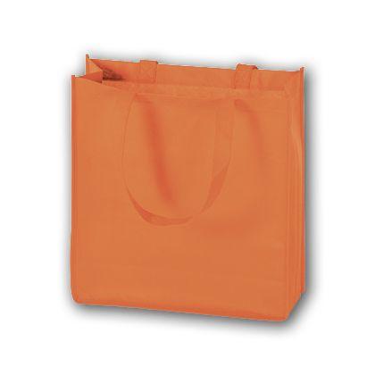 Orange Unprinted Non-Woven Tote Bags, 13 x 5 x 13
