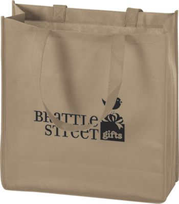 Tan Non-Woven Tote Bags, 13 x 5 x 13