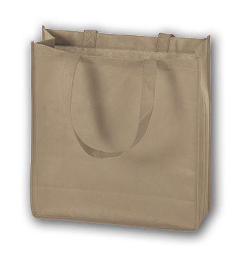 Tan Unprinted Non-Woven Tote Bags, 13 x 5 x 13
