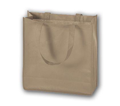 "Tan Unprinted Non-Woven Tote Bags, 13 x 5 x 13"""