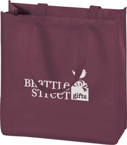 "Burgundy Non-Woven Tote Bags, 13 x 5 x 13"""