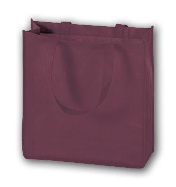 Burgundy Unprinted Non-Woven Tote Bags, 13 x 5 x 13