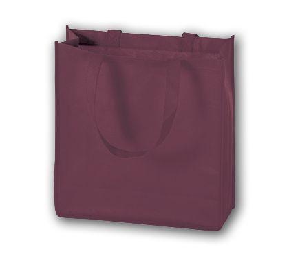 "Burgundy Unprinted Non-Woven Tote Bags, 13 x 5 x 13"""