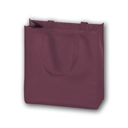 Burgundy Unprinted Non-Woven Tote Bags, 13 x 5 x 13
