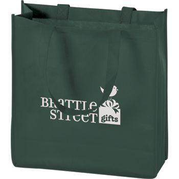 """Hunter Green Non-Woven Tote Bags, 13 x 5 x 13"""""""