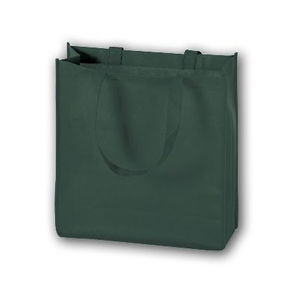 Hunter Green Unprinted Non-Woven Tote Bags, 13 x 5 x 13