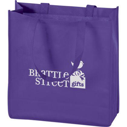 """Purple Non-Woven Tote Bags, 13 x 5 x 13"""""""