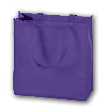 Purple Unprinted Non-Woven Tote Bags, 13 x 5 x 13