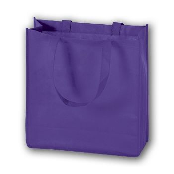 Purple Unprinted Non-Woven Tote Bags, 13 x 5 x 13
